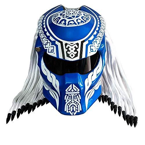 Casco con visiera predatore frastagliata Predator Casco moto con antracite in fibra di carbonio nera D.O.T Certificato Harley Retro Cross-country con treccia di capelli e luce a LED,blu,S55~56CM