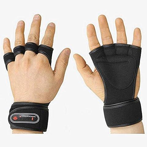Levantamiento de pesas guantes Fitness gimnasio guantes de entrenamiento largo muñequera guantes, color negro, tamaño M (for women)