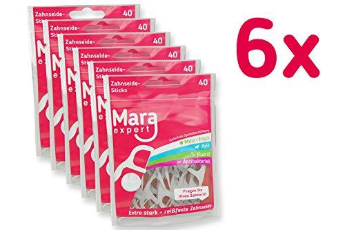 Zahnreinigung mit Zahnseide-Sticks von MARA EXPERT | 6 x 48 Dental Sticks | Zungenreinigung, Zahnseide gewachst & Zahnstocher in einem