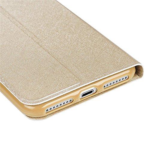 iPhone 7 Hülle, Yokata PU Lederhülle Flip Case mit Campanula Motif Kartenfach Brieftasche Magnet Cover + 1*Stylus Pen - Rosa Gold