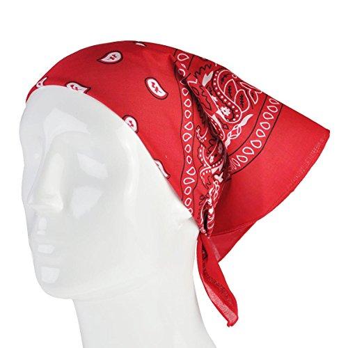 Foulard Bandana Foulard Écharpe Paisley Diverses Couleurs Unisexe Pour Hommes Femmes Foulard Bandana Noir - Paisley-Red