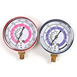 ATOPLEE 1Pair Air Conditioner R410A R134A R22 Refrigerant Low & High Pressure Gauge PSI KPA