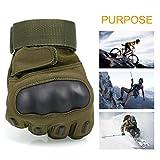 OMGAI Männer voller Finger militärische taktische Handschuhe des harten Knöchel mit Klettverschluss für Airsoft Armee Paintball Motorrad Outdoor Sports Armee Grün M - 6