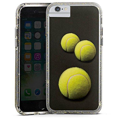 Apple iPhone 8 Bumper Hülle Bumper Case Glitzer Hülle Tennis Ballons Baelle Bumper Case Glitzer gold