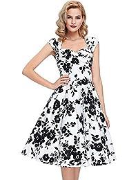 c1a3ca420 JOTHIN Mujeres 50s Sin Mangas Vestido Rockabilly Vestido A-Line V-Cuello  Vestido Cocktail Impresión Vestidos…