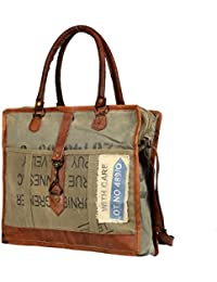 Vintage Design Military Canvas Leather Bag Travel Bag Office Bag Laptop Bag With Adjustable Strap By Priti