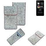 K-S-Trade® Filz Schutz Hülle Für -Allview A9 Lite- Schutzhülle Filztasche Pouch Tasche Case Sleeve Handyhülle Filzhülle Hellgrau Roter Rand