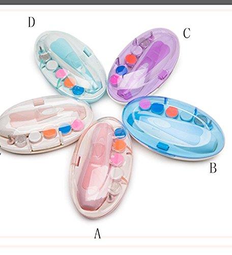 Baby Nagelfeile, Super-Leise Elektrische Nägel Clipper & Trimmer Für Kinder Und Erwachsene - 2 Geschwindigkeiten & 2 Richtungen Einstellbar, 6 Schleifköpfe Und Frontleuchten,D -