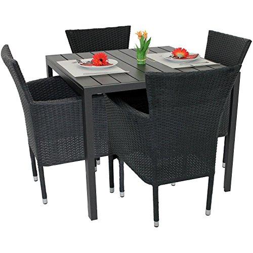 Wohaga 5tlg. Gartenmöbel-Set Aluminium Polywood Tisch 90x90cm + 4X Poly-Rattan Sessel stapelbar...