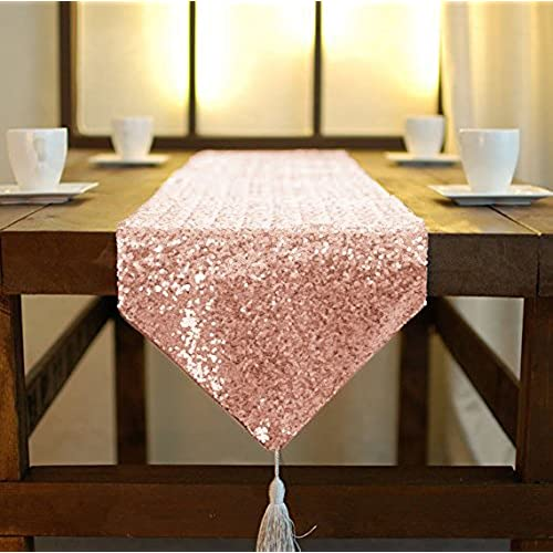 Wedding decorations blue or red amazon shinybeauty blush shimmer sequin table runner tassel 12x72in glitter sequins fabric table runner with tassel in party wedding banquet table linen layout or junglespirit Images