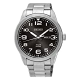 SEIKO- SOLAR GENTS STAINLESS STEEL BLACK DIAL BRACELET WATCH