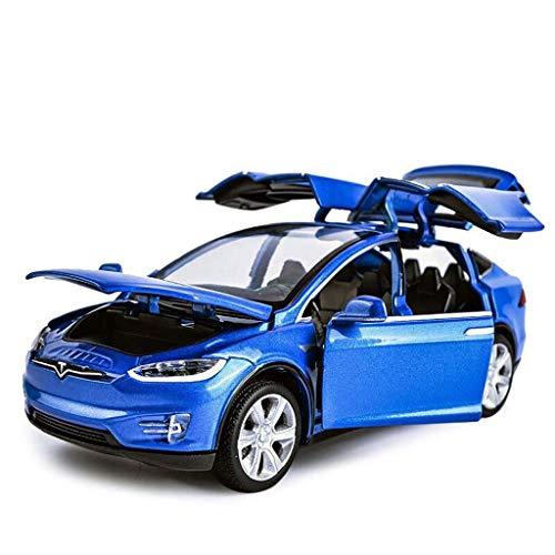 HRSGJK Modellauto Tesla 1:32 Analog-Druckguss-Legierung Ton Und Licht Ziehen Spielzeugmodellauto 15x5.5x4.5CM Zurück (Color : Blue)