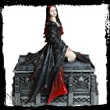 Await the Night Seductive Vampire Female Resting on a Coffin by Anne Stokes Collection