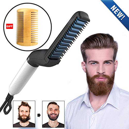 Cepillo alisador de cabello eléctrico, alisador de barba para hombre, alisador de pelo rápido, alisador de cabello, rizador de pelo lateral, rizador de pelo multifuncional