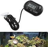 Ueetek 2pz termometro digitale LCD per acquario terrario rettile terrario (nero)
