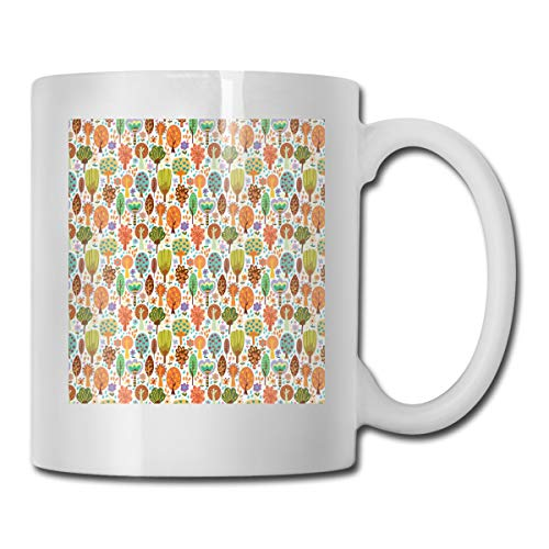 Jolly2T Funny Ceramic Novelty Coffee Mug 11oz,Doodle Spring Forest Awakening Nature of Trees Flowers and Butterflies In Habitat,Unisex Who Tea Mugs Coffee Cups,Suitable for Office and Home Butterfly Demitasse