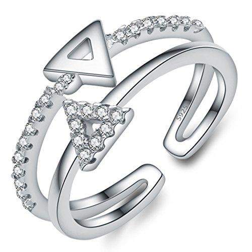 Unendlich U Pyramide 925 Sterling Silber Einstellbare Eternity Channel Set Zirkonia Kleiner Finger Ringe für Mädchen Damen, Ringgröße 42 mit Gabe Beutel (Süße Finger-ringe Für Frauen)