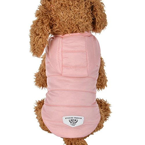 KanLin Winter Haustier Warm Gepolsterte Verdickung Weste Mantel Hund Kostüme (S, Pink)