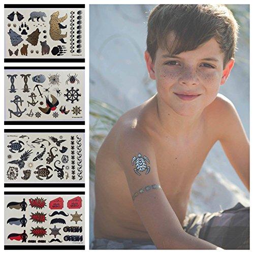 Temporäre Tattoos - 4 Seiten Spaß Metallic temporäre Tattoos für Kinder - Schwarz, Silber, Rot & Gold Tattoo Bären, Wölfe, Schildkröten, Eidechsen, Spinnen, Vögel und mehr - für Jungen und Mädchen - von Twink Designs