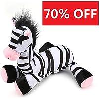 Pro Goleem - Juguete de peluche para mascotas, resistente, suave y chirriante, fantástico juguete de cebra