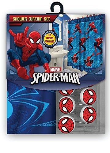Marvel 13-teilig Spiderman Vorhang für die Dusche mit passenden Haken