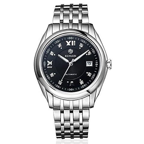 binlun Herren Automatische mechanische Uhr Edelstahl Analog Uhren für Männer mit Datum, Schwarz Zifferblatt