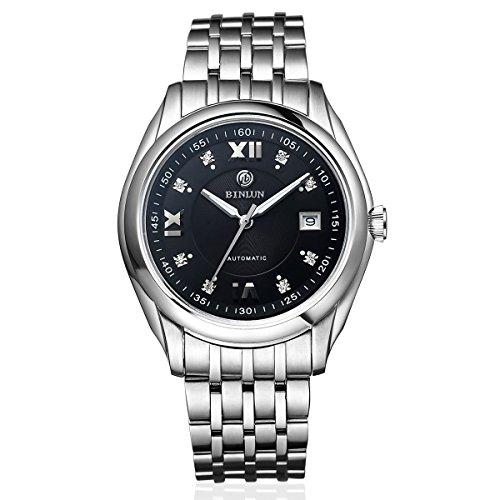 Binlun mens automatico orologio meccanico in acciaio INOX analogico orologi per gli uomini con data, quadrante nero