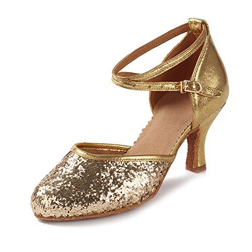 HIPPOSEUS Damen & Mädchen Sandalen Ausgestelltes Tanzschuhe/Ballsaal Standard Pailletten Latein Dance Schuhe,DEWXCL-7,Pailletten+Gold,UK 5.5/EU 38