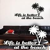 Wandkings Wandtattoo Life is better at the beach (mit 2 Palmen) 75 x 41 cm weiß - erhältlich in 33 Farben