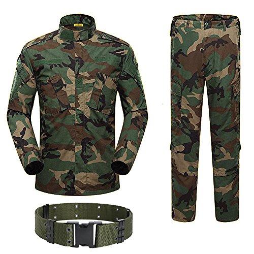 H Welt Shopping Military Tactical Herren Jagd Combat BDU Uniform-Shirt und Hose mit Gürtel Woodland Camo, Woodlang / Camouflage Bdu Woodland Camo
