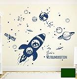 Wandtattoo Wandaufkleber Rakete Raumschiff mit Yuri und Neil im Weltall Weltraum M1653 - ausgewählte Farbe: *Dunkelgrün* - ausgewählte Größe: *XL - 140cm breit x 115cm hoch*