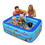 YDYLZC- Aufblasbare Familie Pool/Ocean Life Pool/drei Ring aufblasbare Planschbecken 3 Größen + elektrische Pumpe - (blau) weich (größe : 155*110*55cm)