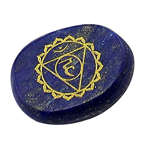 Contever® 1 Pcs Engraved Stones to Balance Reiki Healing Chakras Holistic Health Care Products - Lapis Lazuli (Throat Chakra)