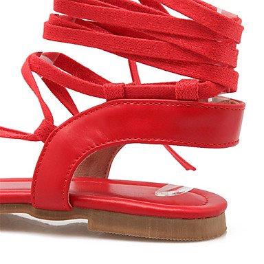 LFNLYX Sandales femmes nouveauté d'été robe simili cuir Talon plat décontracté Lace-up Noir Rouge Autres Beige Beige