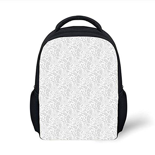 Kids School Backpack Silver,Floral Pattern Abstract Carnation Flower Motifs Swirled Leaves Ornate Antique Decorative,Silver White Plain Bookbag Travel Daypack (Silver Antique Pocket)