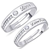Peora Silver Plated Crystal Love Forever Wedding Band Adjustable Couple Rings for Women
