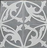 4 Zementfliesen Mondial grau weiß - Handarbeit - Jugendstil Vintage für Altbau Neubau