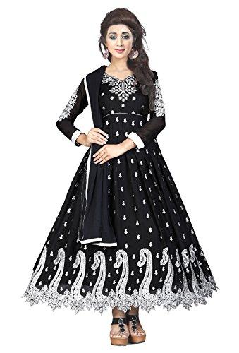 MANSVI FASHION Women's Georgette Semi-Stitched Salwar Suit (MENGO _Black_ Free Size)