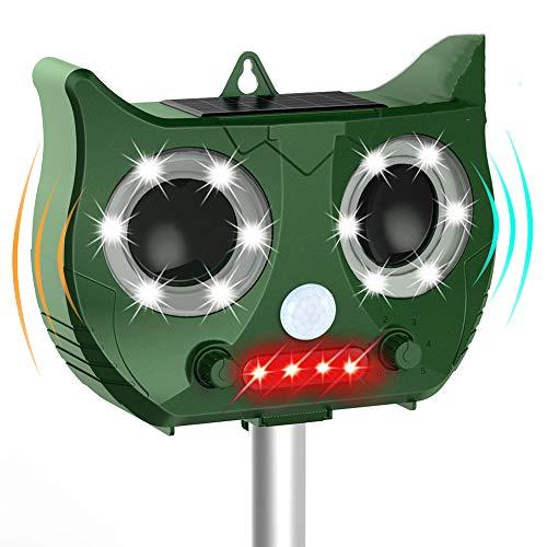QWER Katzenabweisend, Ultraschall-Schädlingsbekämpfer, solarbetrieben, IP67 wasserdicht mit Bewegungssensor und Blinklicht - USB wiederaufladbar,Green