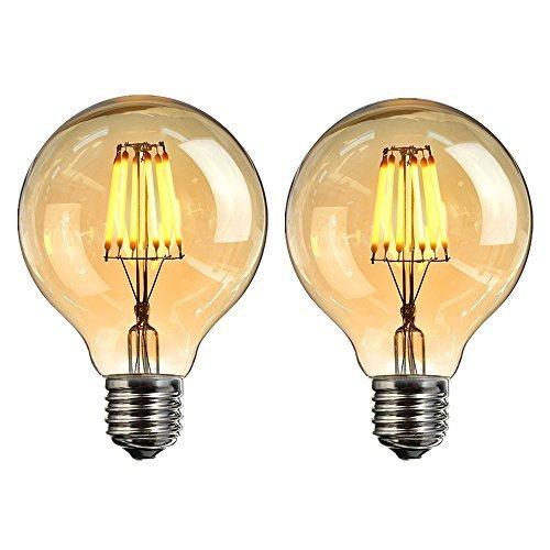 Vintage LED Edison Glühbirne, Elfeland E27 6W Antike LED Filament Lampe Dekorative Glühbirne (2200K, Dimmbar, Modell G80) Amber Glas Ersetzt 60W Ideal für Nostalgie und Retro Beleuchtung 2 Stück