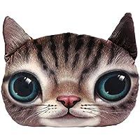 Kicode 3D Lindo suave relleno Felpa Big Cat Face Funda de almohada Decoración del hogar Funda de cojín de juguete