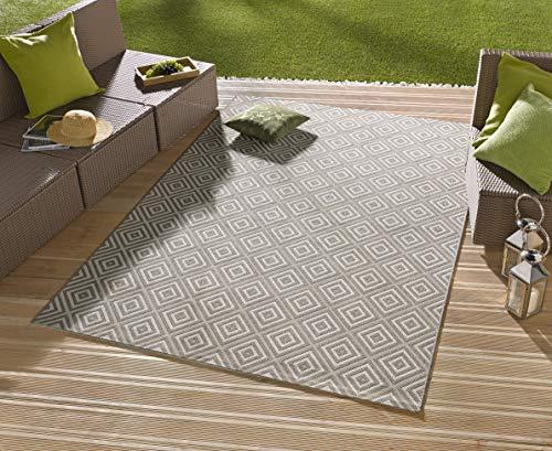 HHC In- & Outdoor Design Teppich Terrasse Wintergarten 160 x 230cm oder 140cm rund Raute (OD-12 Karo Grau 200x290cm) -