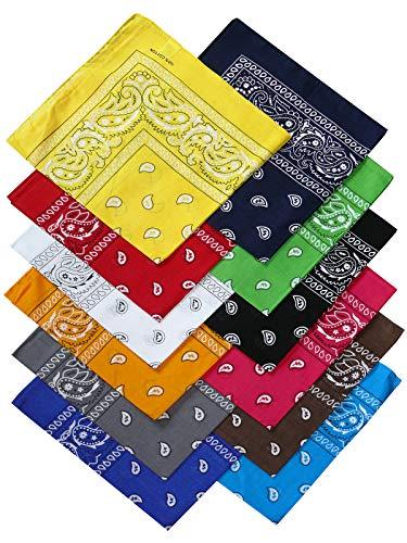 Harrys-Collection Bandana Bindetuch 100% Baumwolle (1 er 6 er oder 12 er Pack), Farbe:12x gemischt