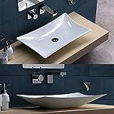 Aufsatzwaschbecken Brüssel910, BTH: 56,5x37x11 cm, Waschbecken aus Keramik, eckig, mit Nano-Beschichtung/Lotus-Effekt