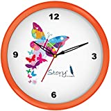 [Sponsored]Story@home 10-inchRound Shape Wall Clock With Glass For Home / Kitchen / Living Room / Bedroom (Orange Frame)