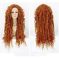 Película Brave Princess Merida Cosplay peluca larga rizada ondulada pelucas doradas para mujeres Halloween Cosplay fiesta