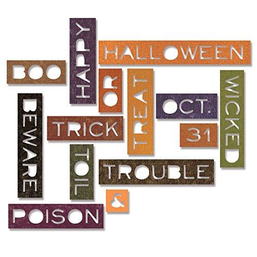 Sizzix 661587Thinlits sterben Set, Halloween Worte, dünn von Tim Holtz (14-Pack), - Sizzix Worte Thinlits