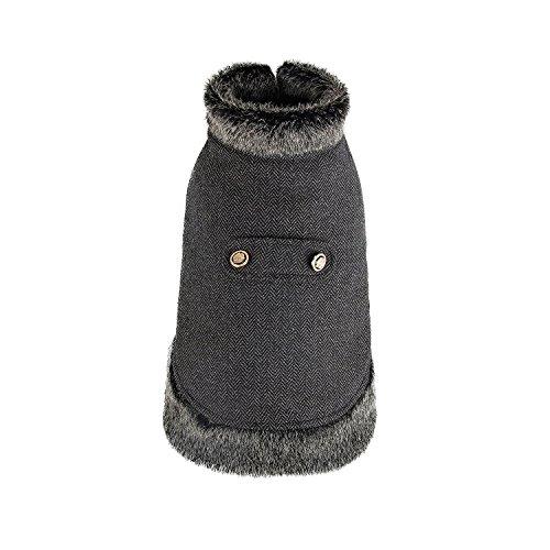 XUJW-PET, Hund Haustier Katze Winter Warm Mantel Jacke Wolle Kleidung Pelz Kragen In 4 Farben 4 Größen ( Color : Grey , Size : L )