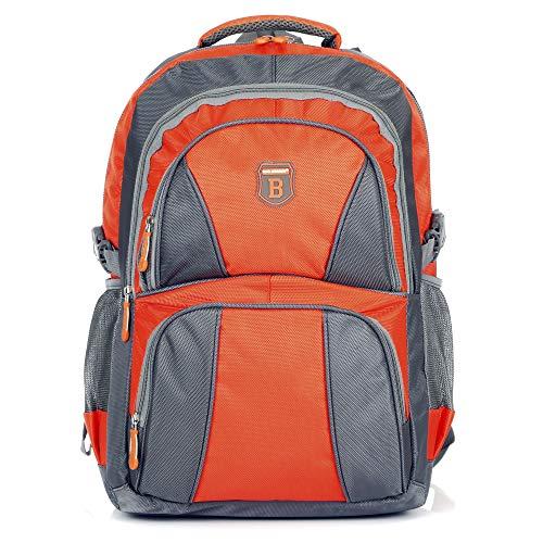 Ergonomisches Daypack City Damen Herren Rucksack Schulrucksack Backpack Tasche für Reise Sport Freizeit (B1 Orange-Grau)