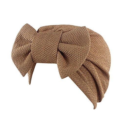 iShine Indien Turban Cap Moslemin Turban Weibliche Elastic mit Groß Schleife Monochrome Kopftuch Mütze für Haarausfall Krebs Chimio Khaki (Medizinische Schleifen)